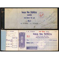 Nepal Bank Limited, Katmandu Branch Unused 1960's Check Book.