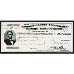 Commissioners of the Freedman's Savings and Trust Co. Assistant Treasurer Check or Draft by BEP With