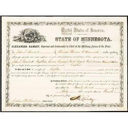 Minnesota Civil War Era 1861 Officer's Commission Signed by Civil War Notables.