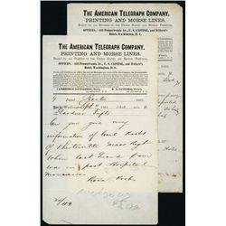 American Telegraph Co. 2 Civil War Telegraphs for the 13th Mass Regiment.