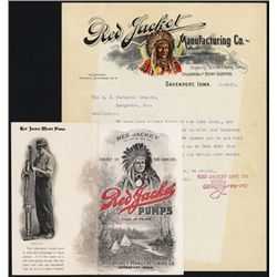 Red Jacket Manufacturering Letterhead and Brochure with Full Color Native American Indian Chief.