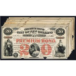 Premium Bond-City of New Orleans 1875 Issue Group of 8.