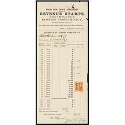 Boston Post Office 1867 Revenue Stamp Order Form.