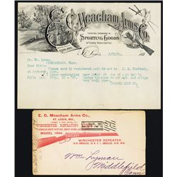 E.C. Meacham Arms, Gun / Sporting Goods Dealer Letterhead with Damaged Envelope with Winchester Rifl