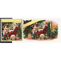 ÒSanta & Baby New Year Champagne ToastÓ On sample Cigar Labels Missing Titles.