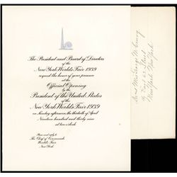 New York World's Fair 1939 Engraved Invitation for Official Opening Ceremony.