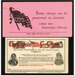 Anti-Saloon League of America Cards.