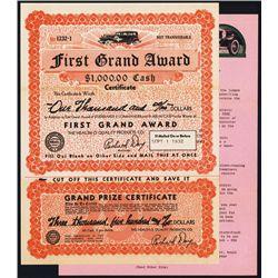 Grand Award Certificate with 1932 Studebaker Automobile Vignette.