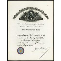 McKinley Birthplace Memorial Association Certificate.