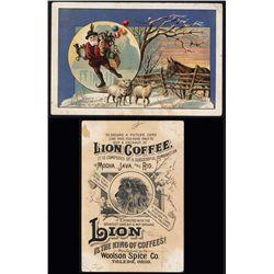 Santa Claus Lion Coffee Christmas Trade Card.