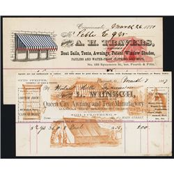 Tent & Awning 1880's Invoice Letterhead Designs.