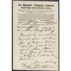 Magnetic Telegraph Co. California Related Civil War Telegraph.