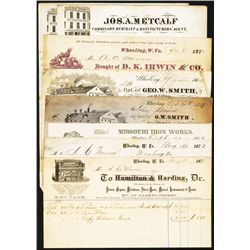 Wheeling WV 1850-1870's Commercial Invoices Group Lot of 8.