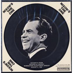 Richard Nixon Campaign Recording on 33 1/2 RPM Cardboard record.