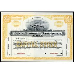 Hawaiian Commercial and Sugar Co. Ltd. Specimen Stock.