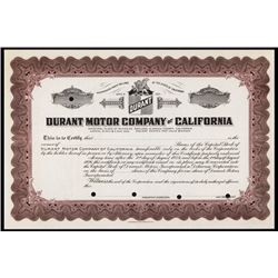 Durant Motor Co. of California Specimen Stock.