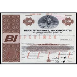 Braniff Airways, Inc. Specimen Bond.