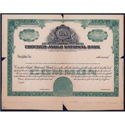 Crocker-Anglo National Bank Stock Proof.