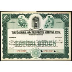 Farmers and Merchants National Bank of Los Angeles, ND, Specimen Stock.