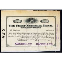 First National Bank of Colorado Springs, 19xx, Stock Proof.
