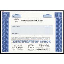 Berkshire Hathaway Inc. 1996, Specimen Stock.