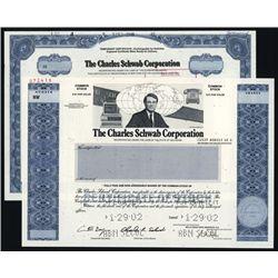 Charles Schwab Corp. Specimen Stock. Lot of 2.
