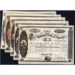 First National Bank of Amenia, 1890, Issued Stock, Lot of 5.