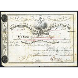 Merchants & Mechanics Bank of Wheeling Issued Stock.