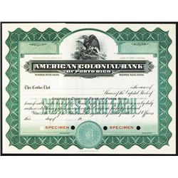American Colonial Bank of Porto Rico, ND, Specimen Stock.