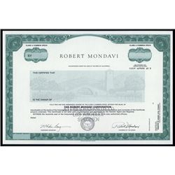 Robert Mondavi Corp. Specimen Stock.
