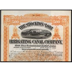 Stockton and Lodi Irrigating Canal Co. 1892 Specimen Bond.