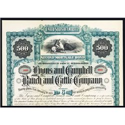 Lyons and Campbell Ranch and Cattle Co. Specimen Bond.