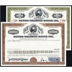 Metro-Goldwyn-Mayer Inc. Lot of 2 Specimen Bonds.