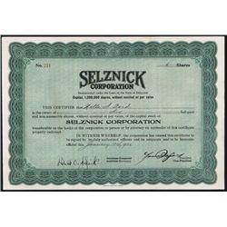 Selznick Corp. Issued Stock Witrh David O Selznick Autograph.