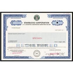 Starbucks Corp. Specimen Bond.