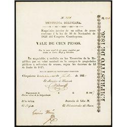 Republica Boliviana, Emprestito De 1826, $100 Bond.
