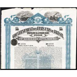 Gouvernement des Etats Unis du Bresil Issued Bond.