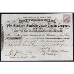 Hornsey Freehold Estate Tontine Co. Ltd. Issued Stock.
