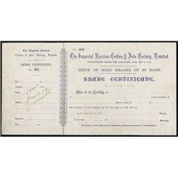 Imperial Russian Cotton & Jute Factory Ltd. Specimen Stock.