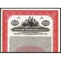 City of Barranquilla 1929 Specimen Bond.