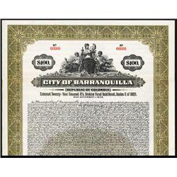 City of Barranquilla Specimen Bond.