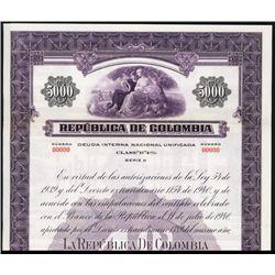 Republica de Colombia 1941 Specimen Bond.