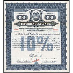 Republica de Colombia, Bono Colombiano De Deuda Interna 10% 1919 Specimen Bond.
