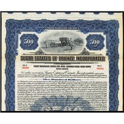 Sugar Estates of Oriente, Inc. 1922 Specimen Bond.