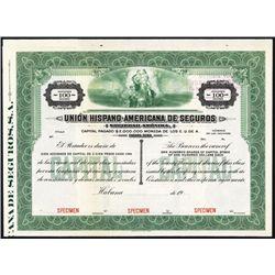 Union Hispano-Americana De Seguros Specimen Bond.