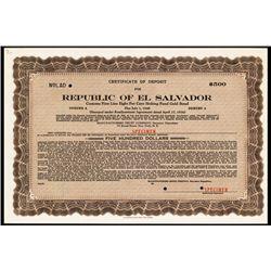 Republic of El Salvador 1936 Specimen Bond.