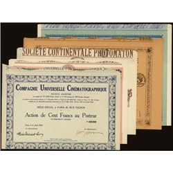 1920's French Cinema Issued Bonds Lot of 5.