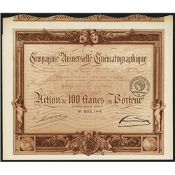 Compagnie Universelle Cinematographique Issued Bond.