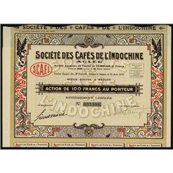 Societe des Cafes de L' Indochine Issued Bond.
