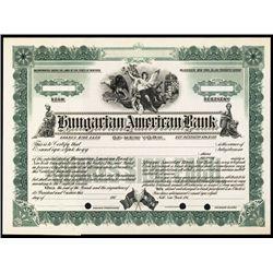 Hungarian American Bank of New York Specimen Stock.